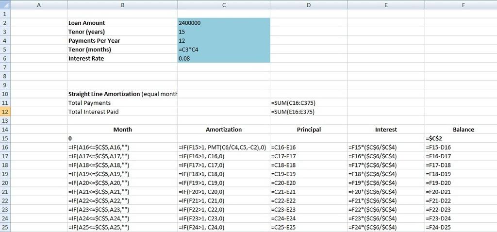 Loan Amort Table-Excel Formula