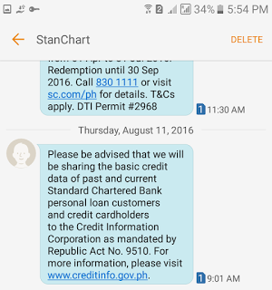 Text Message from Banks About Credit Information Corp (CIC)